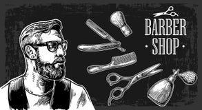 行家刮脸理发在理发店 传染媒介黑白例证和印刷术元素 图库摄影