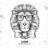 行家动物狮子 手狮子图画枪口  向量例证