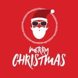 行家圣诞老人 贺卡或邀请在圣诞节,新年 免版税库存图片