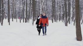 年轻行家夫妇有步行在慢动作的冬天森林 影视素材