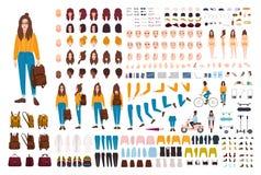 行家女孩创作成套工具 套平的女性漫画人物身体局部,面部姿态,发型,时髦衣物 向量例证