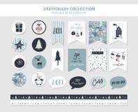 行家新年和圣诞快乐固定式集合 传染媒介可印的卡片、贴纸和横幅与圣诞节球 向量例证
