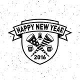 行家新年2016年,徽章和喇叭,困厄的传染媒介 免版税库存图片