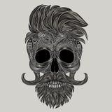 行家的传染媒介头骨 一块人的头骨的抽象剪影 免版税库存图片