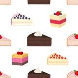 行家的样式结块,乳酪蛋糕,饼,在平的样式的酥皮点心 免版税库存照片