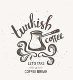 行家葡萄酒风格化字法用土耳其咖啡 也corel凹道例证向量 库存例证
