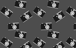行家,黑白,美丽,葡萄酒减速火箭的照相机的样式 无缝的纹理 图库摄影