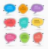 行情箱子 传染媒介套讲话起泡,语篇框架图 能为声明,引证,消息,引文使用 免版税库存照片