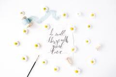 行情`做与最高荣誉巨大爱的`的小事写在书法样式在与春黄菊芽的纸和 免版税库存照片