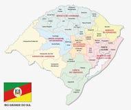 行政的南里奥格兰德州和与旗子的politicaln地图 库存例证