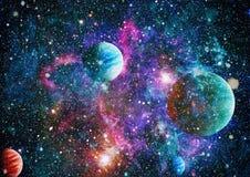行星、星和星系在显示探险空间的秀丽外层空间 美国航空航天局装备的元素 库存照片