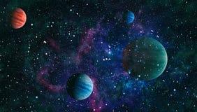 行星、星和星系在显示探险空间的秀丽外层空间 美国航空航天局装备的元素 库存图片