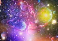 行星、星和星系在显示探险空间的秀丽外层空间 美国航空航天局装备的元素 免版税库存图片
