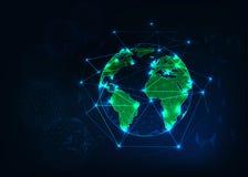 行星从空间的地球视图与绿色大陆概述抽象背景 免版税库存照片
