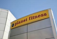 行星健身健身房标志,达拉斯,得克萨斯 库存照片