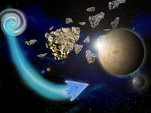 行星和小行星在空间在明亮的星3d例证附近 免版税库存图片