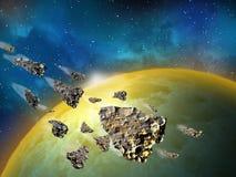 行星和小行星在空间在明亮的星3d例证附近 免版税库存照片