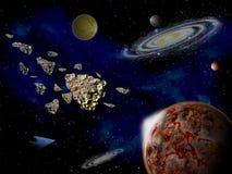 行星和小行星在空间在明亮的星3d例证附近 库存图片