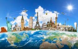 行星地球上一起编组的世界的著名地标 免版税库存图片