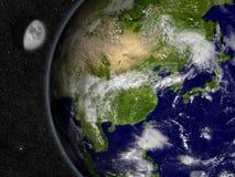 行星地球上的东亚 库存图片