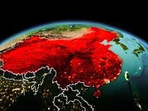 行星地球上的中国在空间 免版税图库摄影