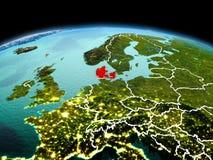 行星地球上的丹麦在空间 免版税图库摄影