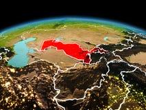 行星地球上的乌兹别克斯坦在空间 图库摄影
