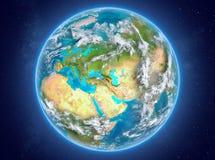 行星地球上的亚美尼亚在空间 免版税库存照片