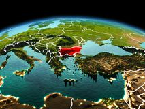 行星地球上的保加利亚在空间 免版税库存图片
