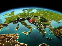 行星地球上的克罗地亚在空间 库存图片