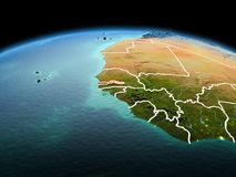 行星地球上的冈比亚在空间 免版税库存图片