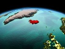 行星地球上的冰岛在空间 库存图片