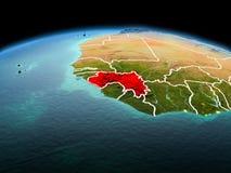 行星地球上的几内亚在空间 免版税库存照片