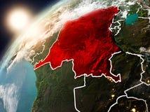 行星地球上的刚果民主共和国在日落 免版税库存照片