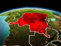 行星地球上的刚果民主共和国在空间 免版税库存照片