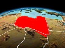 行星地球上的利比亚在空间 免版税库存图片