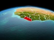 行星地球上的利比里亚在空间 免版税库存图片