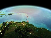 行星地球上的加勒比在空间 免版税库存图片
