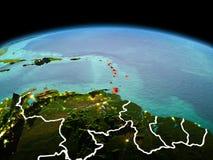 行星地球上的加勒比在空间 库存照片