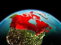行星地球上的加拿大在空间 库存照片