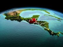 行星地球上的危地马拉在空间 免版税库存图片