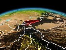 行星地球上的吉尔吉斯斯坦在空间 库存图片