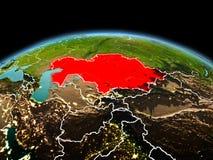 行星地球上的哈萨克斯坦在空间 库存照片