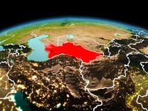 行星地球上的土库曼斯坦在空间 库存图片