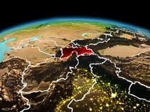 行星地球上的塔吉克斯坦在空间 免版税库存照片