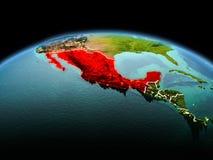 行星地球上的墨西哥在空间 库存图片