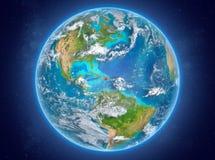 行星地球上的多米尼加共和国在空间 库存照片