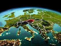 行星地球上的奥地利在空间 免版税库存照片