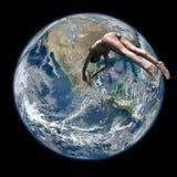 行星地球上的妇女潜水 库存照片