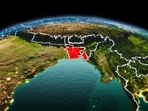 行星地球上的孟加拉国在空间 免版税库存图片